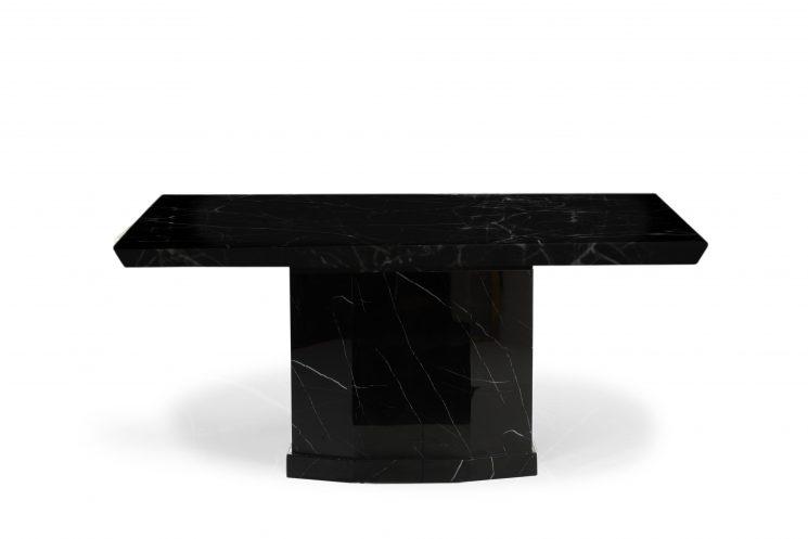 Carvelle 160cm Black Pedestal Marble Dining Table