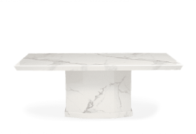 Carvelle 200cm White Pedestal Marble Dining Table