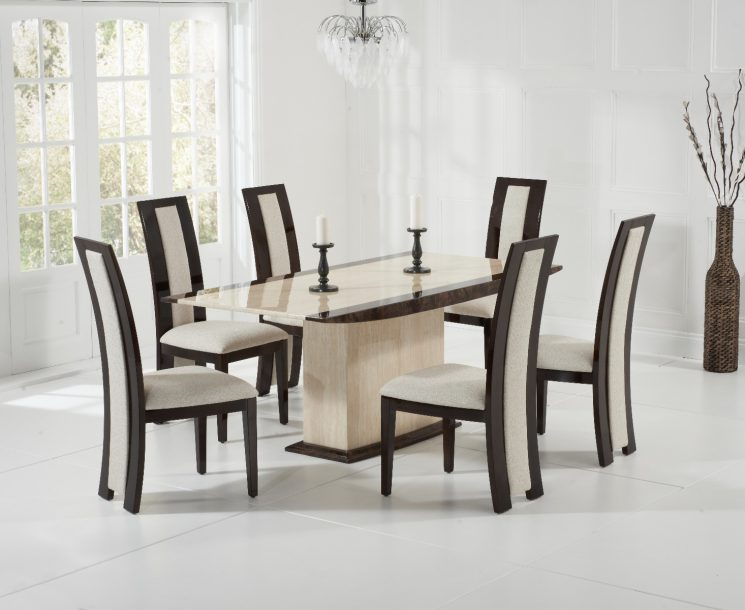 Assisi 180cm cream with Raphael chairs