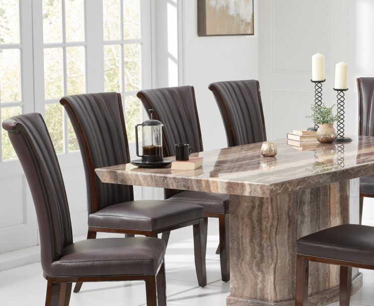 Carvelle 200cm Brown Pedestal Marble Dining Table with Alpine Chairs