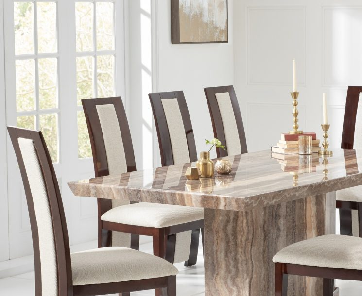Carvelle 200cm Brown Pedestal Marble Dining Table with Raphael Chairs