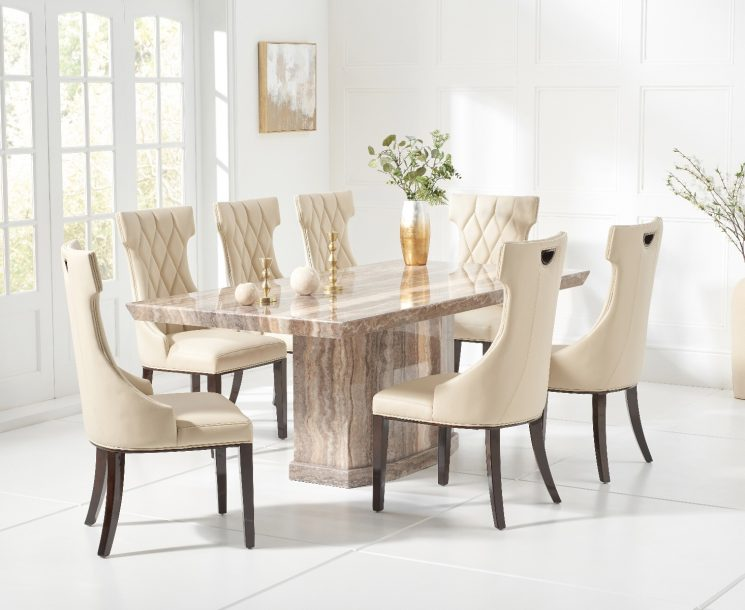 Carvelle 200cm Brown Pedestal Marble Dining Table with Freya Chairs