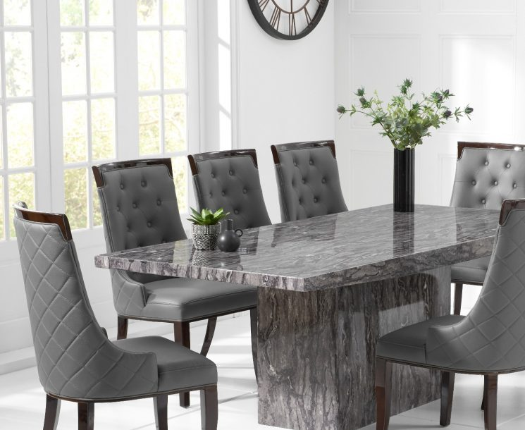 Crema 220cm Grey Marble Dining Table with Angelica Chairs