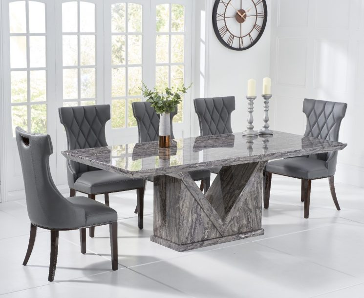 Mocha 220cm Grey Marble Dining Table with Freya Chairs