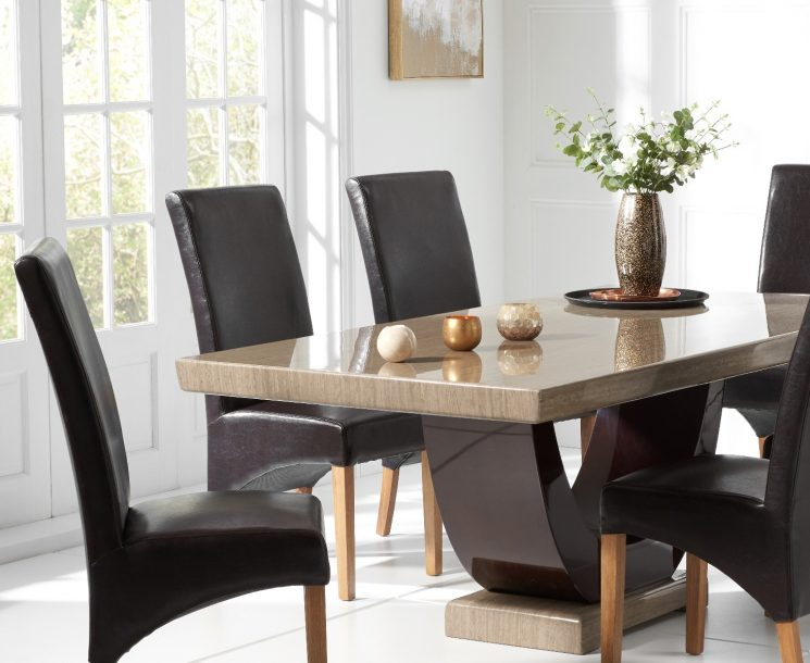 Raphael 170cm Brown Pedestal Marble Dining Table with Cannes Chairs